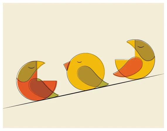 Mid Century Three Bird Print, Fall Tones