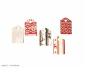 25 Nordic Christmas Tags, Woodland Christmas tags, Gift tags, Christmas gift wrap tags, Red and white gift tags, Holiday gift tags - papirvendage