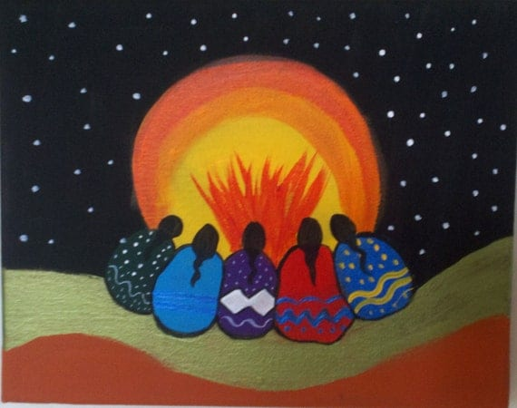 New Moon Blessings, Native American Inspired , Oil painting on Canvas, Elders, Wishing, Autumn ,New Cycle , Thanksgiving , Blessings