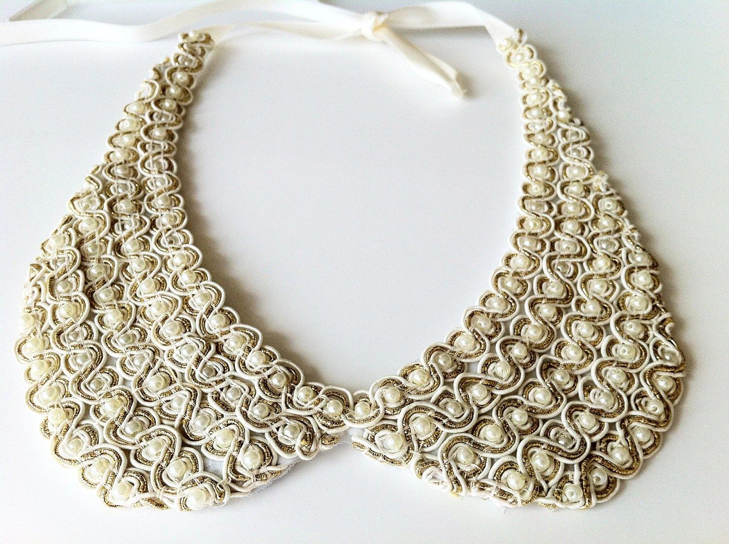Ivory Collar Necklace, Ivory Pearl Embroidery, Gold Color Strip Decorated Detachable Collar for Women - SHECHICEXCLUSIVE