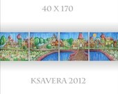 "KSAVERA ""City of the elves"" 16x68 Original Huge Abstract fairy Acrylic Acryl Painting Handmade made in Germany Contemporary New Room Decor - KsaveraART"