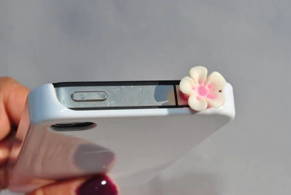 Pretty Pink Flower  Dust Plug for your iPhone or iPad/ Dust Plug/ cellphone decoration/iphone 4/4s/ 5/ Kawaii/ Flower
