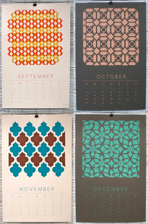 2013 Calendar - 12 Original Designs Screen Printed By Hand - Limited Edition Wall Calendar of 100 - sheepshead