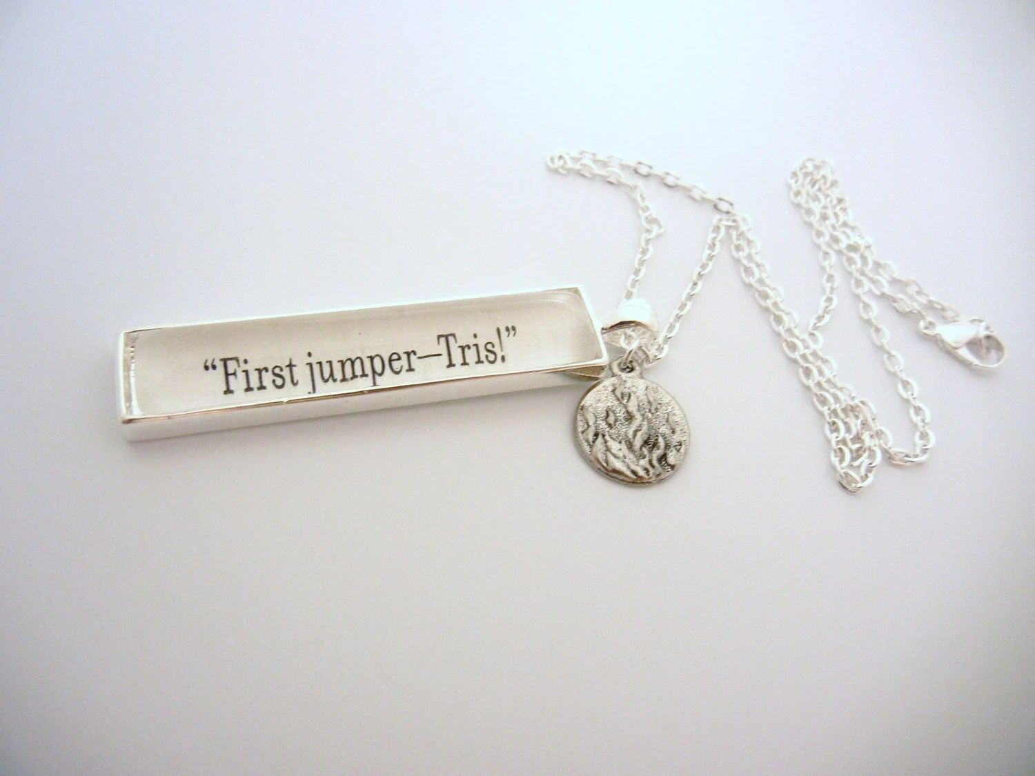 """Divergent """"First jumper, Tris"""" fancy book charm Quote Necklace"""