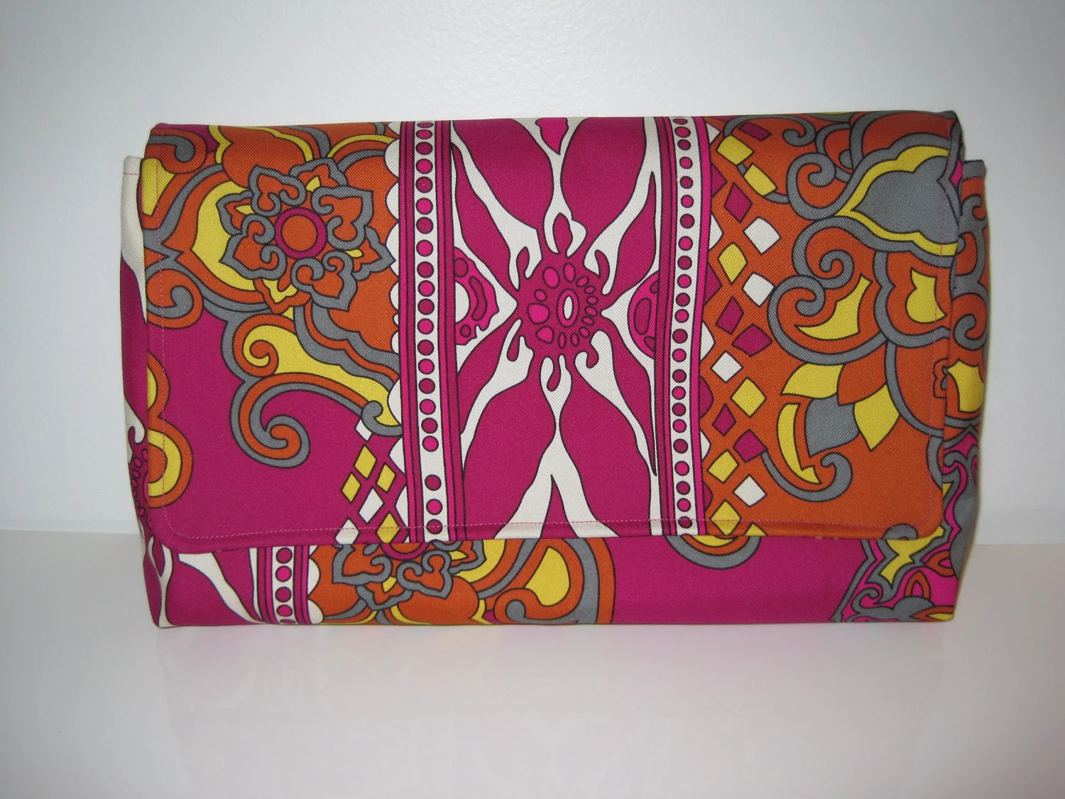 Hot Pink Silk Pucci-esque Printed Handmade Clutch