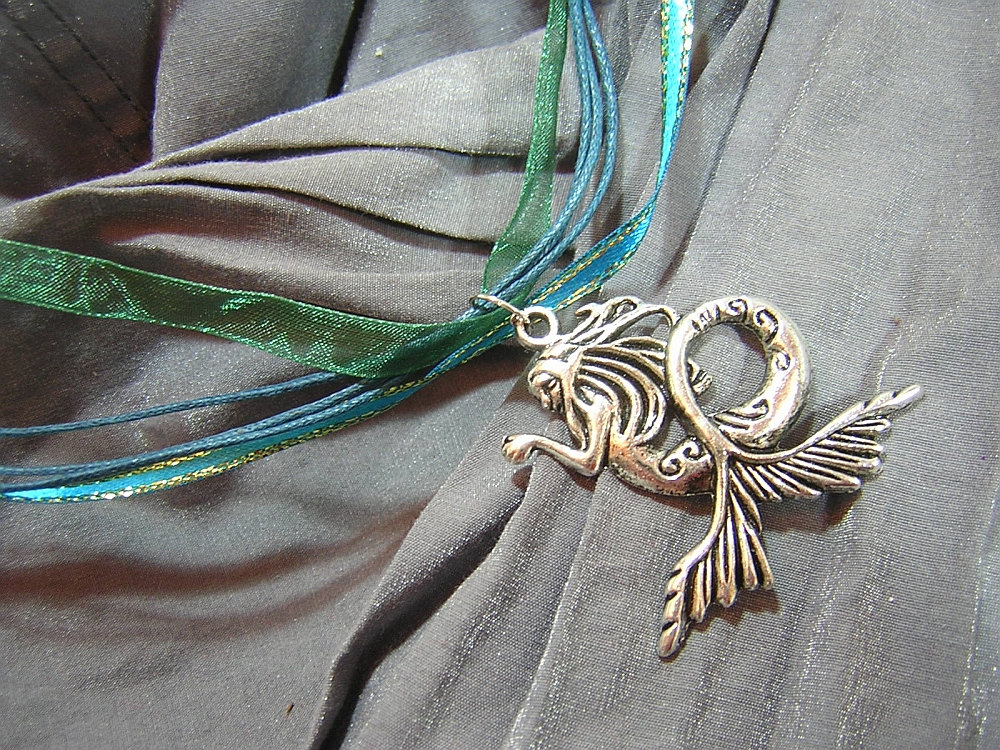 Silver Mermaid on Blue-Green Fancy Ribbon Necklace - Handmade by Rewondered D225F-00002 - $11.95