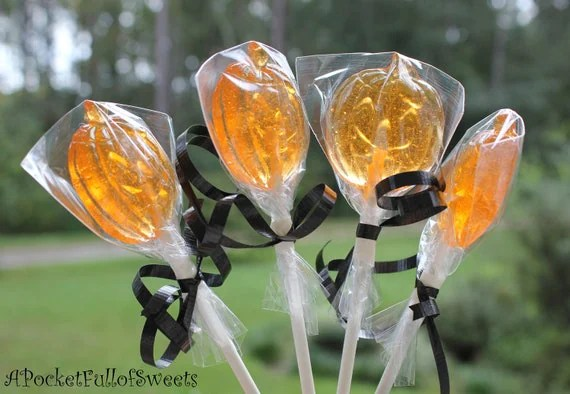 FALL HALLOWEEN Party Favors Barley Sugar Hard Candy Lollipops Suckers Gift