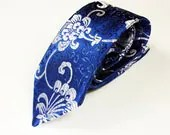 Woman's Necktie with Royal Blue and Silver Peony Scroll Brocade Fabric - TiedToHer