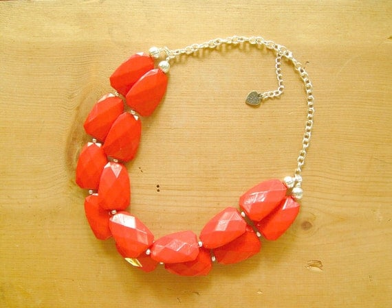 Candy Apple Red Statement necklace - Chunky Red Necklace - Bright red necklace