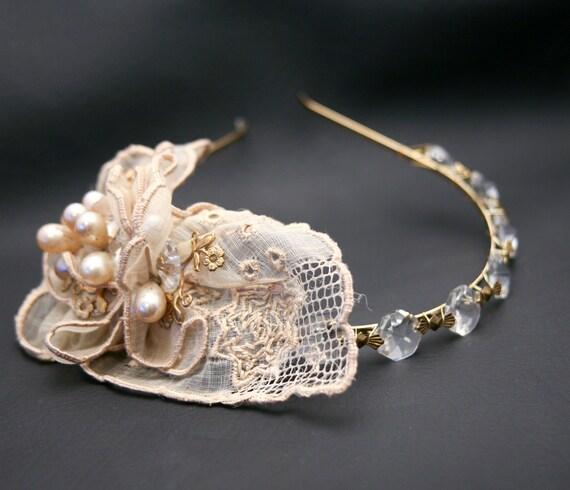Vintage dream, chandelier crystal and vintage hankie wedding tiara, wedding hair accessories - BeSomethingNew