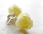 Ivory Rose Earrings, Cream Roses Off White Flowers, Silver Posts, Stud Earrings 10mm The Rosie - waterwaif