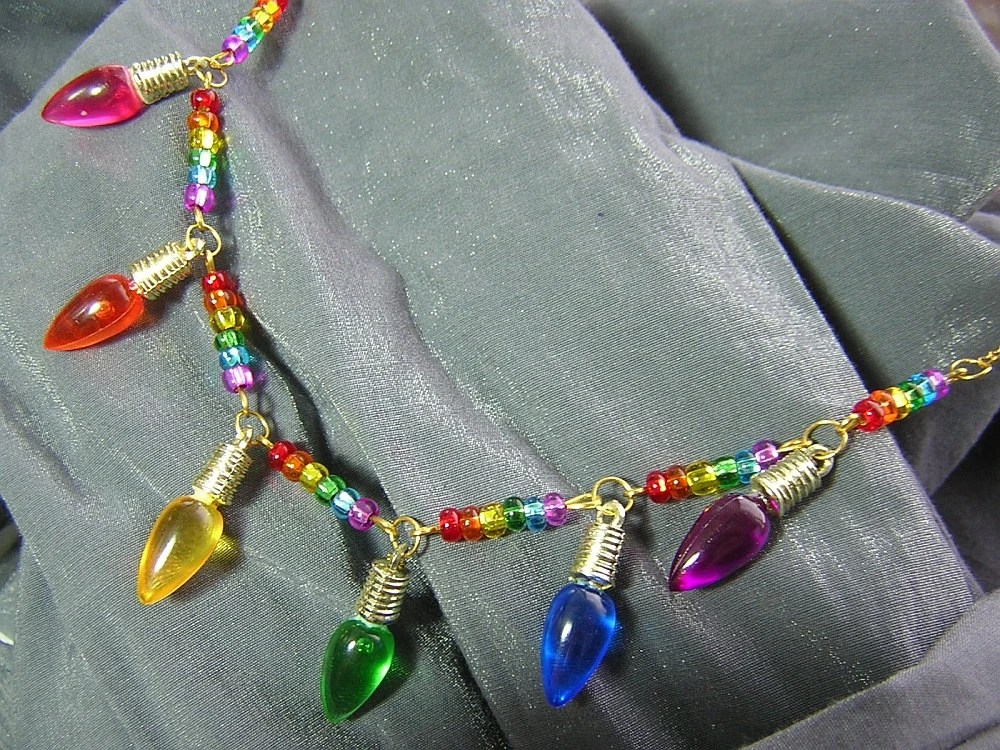 Rainbow Christmas Lights Necklace - Handmade by Rewondered D225N-00273
