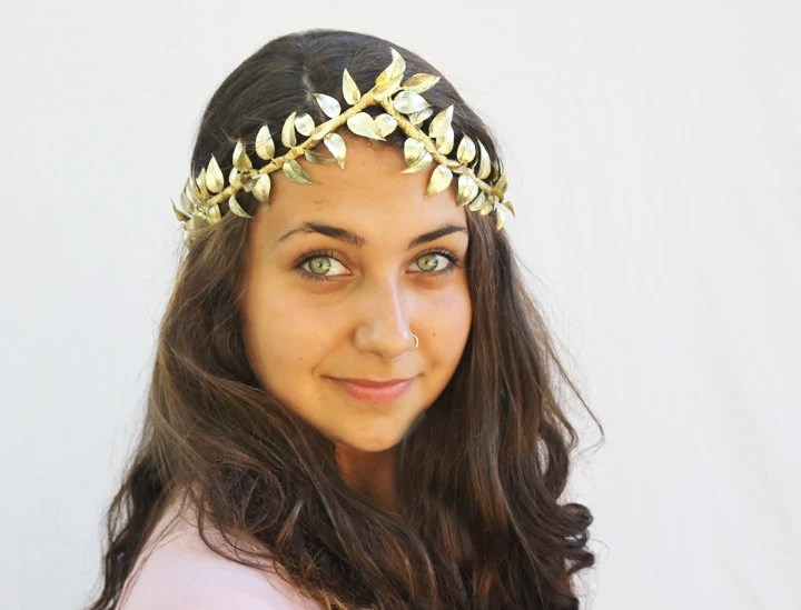 Greek Goddess Gold Leaf Crown - Gold Leaf Tiara. Toga, Mardi Gras, Leaf Garland, Gold Leaves. Leaf Crown, Costume - BloomDesignStudio