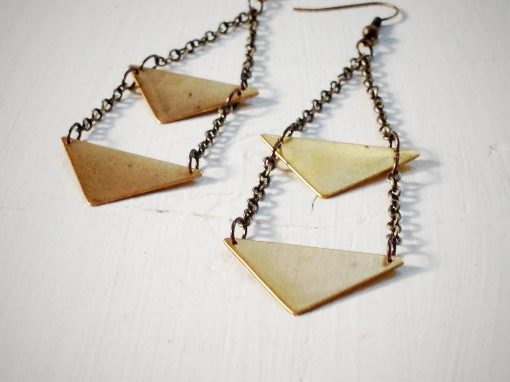 Double Triangle Earrings Statement rustic tribal aztec Gold with antiqued dark brass chain and earwire - wildandarrow