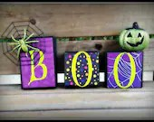 "Halloween ""Boo"" Wooden block set - CreationsByEmilyD"