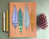 Feathers Notebook-GRID-Moleskine Cahier Notebook LARGE - MeagansMark