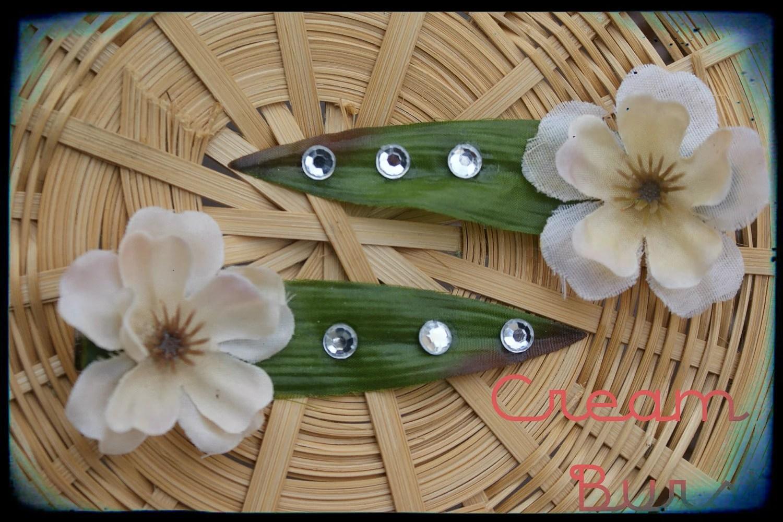Cream Hair Clip, Rhinestone Hair Flower, Flower Girl Clip, Hair Accessory