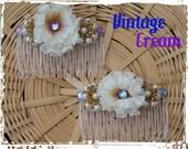 Cream Wedding Comb,Pearl Hair Accessory, Wedding Flower, Bridesmaid Flower, Wedding Accessory