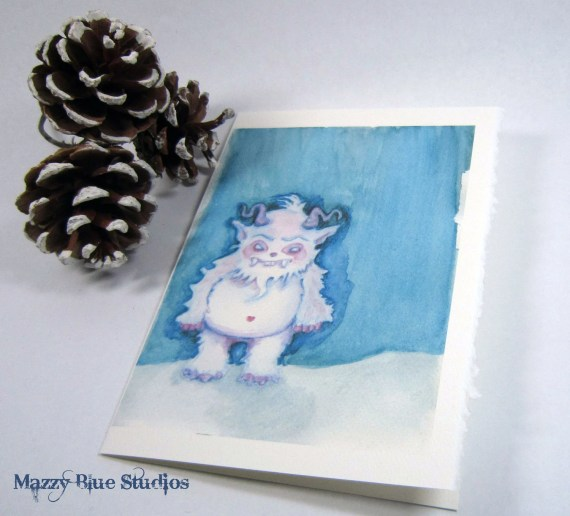 CHRISTMAS CARDS Yeti abominable snowman Holiday Set of 5 Notecards w/Envelopes - MazzyBlueStudios