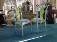 Whimsical Hand Painted Chairs, RESERVED Custom Order for