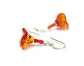 Tangerine Earrings, Orange Red Yellow, Fire Flower Earrings, Long Sterling Silver Dangle Earrings, Fashion Gift For Her Under 2 - CCARIA