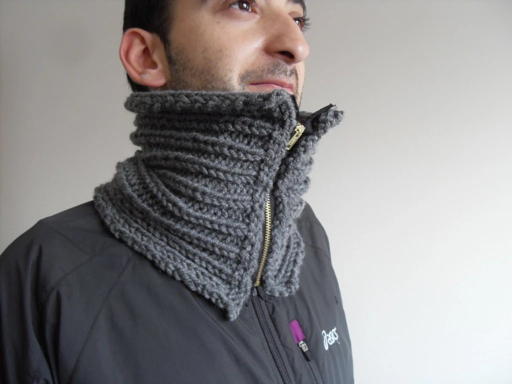 Men Neckwarmer, Gift For Dad, Men Cowl, Grey Neckwarmer, Hand Knit, Chuncky,Metal Zip, Boy Friend Gift - SmilingKnitting