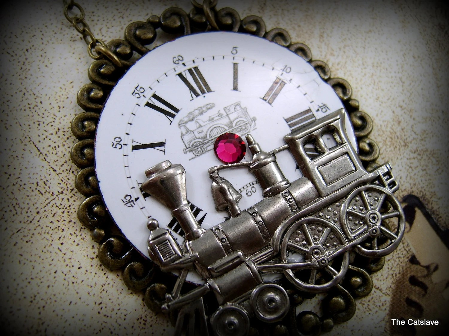 Steam Punk Necklace, Clockwork Watch Face, Locomotive