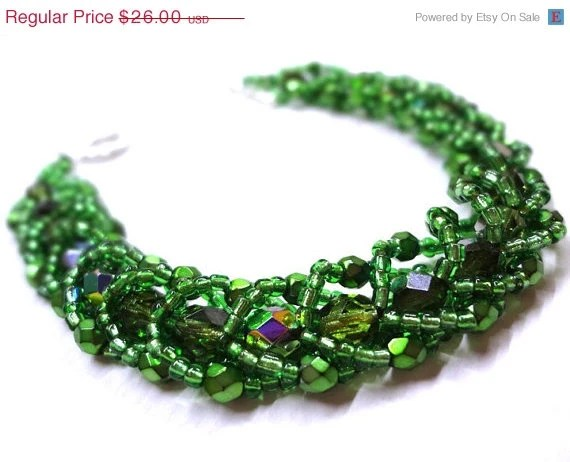 Black Friday SALE Dazzling Green Bracelet - Beaded Flat Spiral - MegansBeadedDesigns