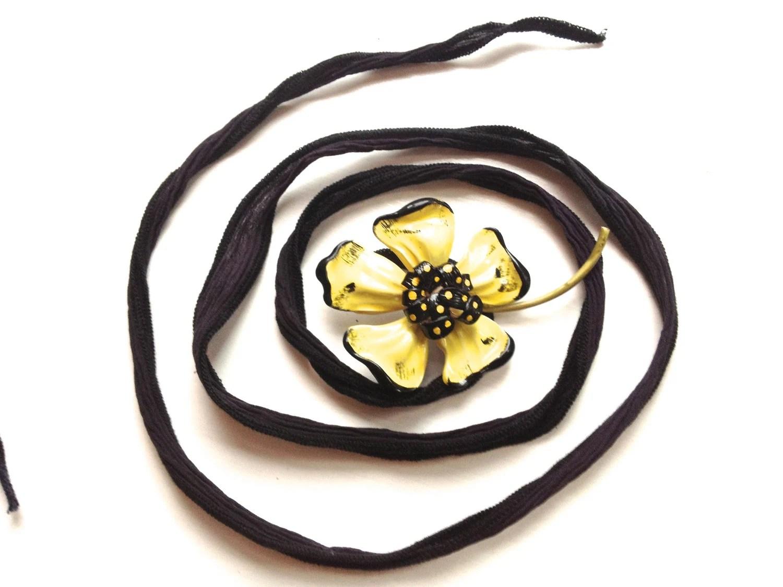 Silk Wrap Flower Vintage Brooch Bracelet in Yellow & Black by ZiLLAs QuEeN - ZiLLAsQuEeN