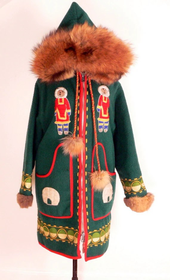 on hold Native Inuit WOOL ANORAK PARKA Fur Hood s-m