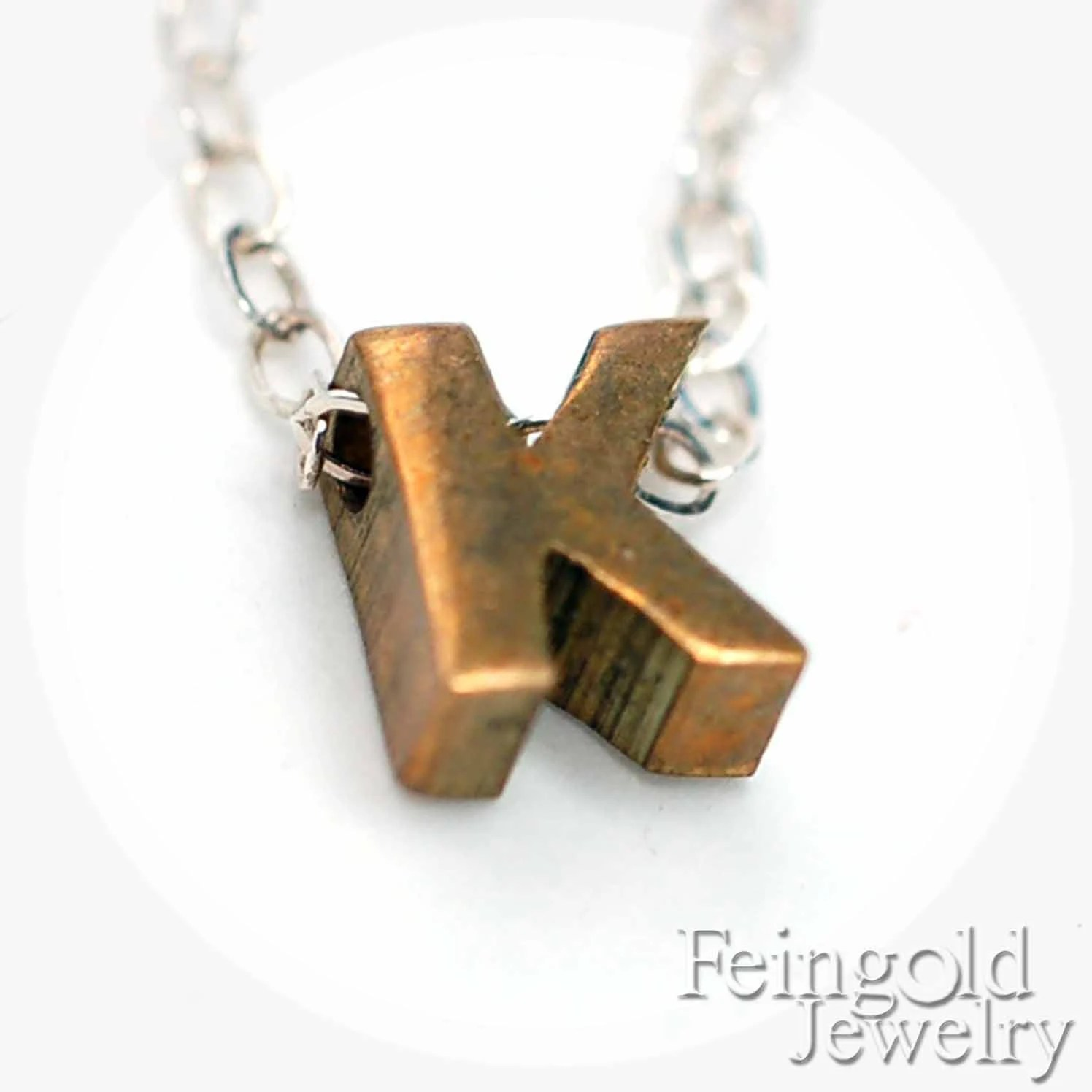K Letter Necklace - Vintage Brass Initial Pendant on Sterling Silver Chain - Free US Shipping