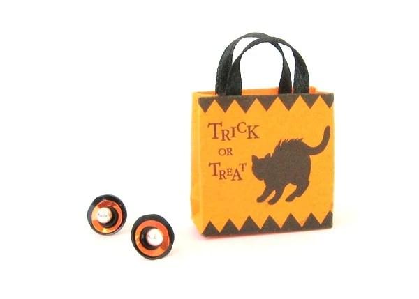 Autumn - Halloween - Orange - Black Sequin Earrings - Interchangeable Earrings - Zalooza
