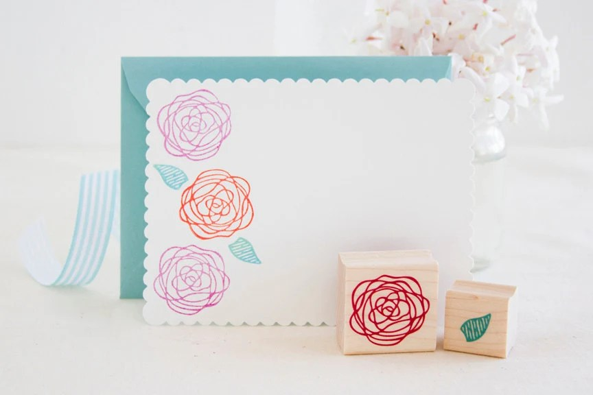 Ramblin Rose and Leaf Rubber Stamp Set - Beautiful Handmade Stamps for Wedding Projects Scrapbooks Wrapping Paper or a Gift