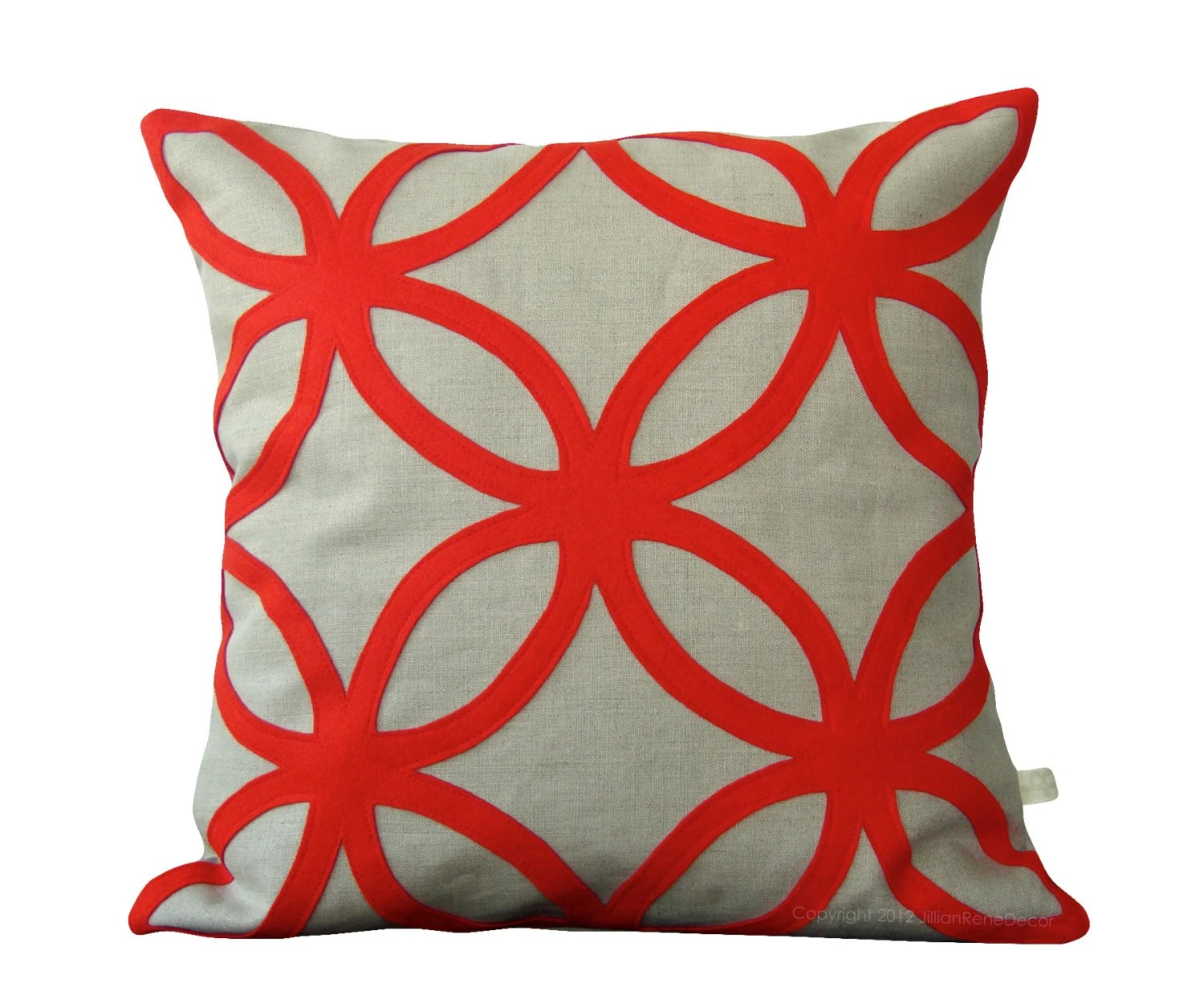 Mod Red DECORATIVE PILLOW COVER - Geometric Felt Design - Holiday Home Decor by JillianReneDecor Interior Design Christmas Gift for Her