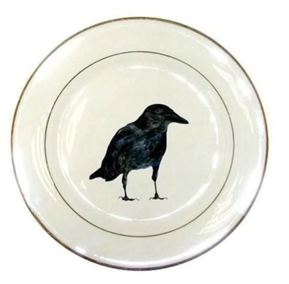 Halloween Decor Raven Porcelain Plate - Crawford
