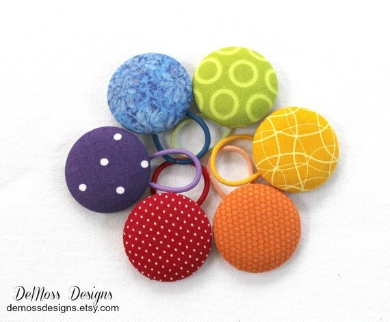 Ponytail holders, Rainbow Lot, 6 Colors, Fabric Covered Buttons, Red Orange Yellow Green Blue Purple, Large