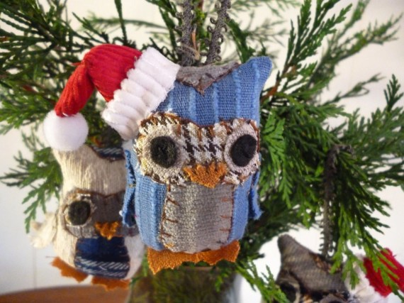 Assorted Owl Christmas Ornaments - 3 Inch Tall Plush Owl Ornament Made From Re-Purposed and Salvaged Fabrics - KayshaK