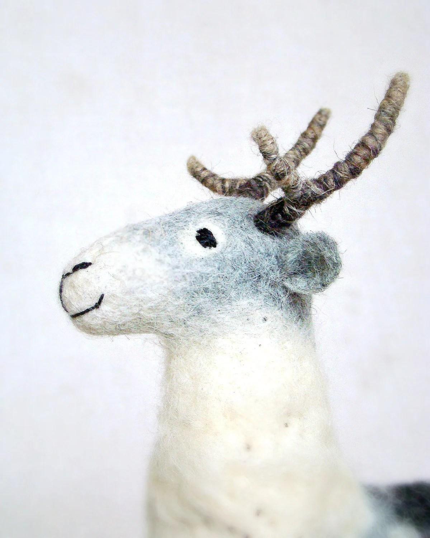Vilmar - Felt Reindeer.  Art Puppet Marionette Stuffed Animal Felted Toy. grey white neutral pastel. MADE TO ORDER - TwoSadDonkeys