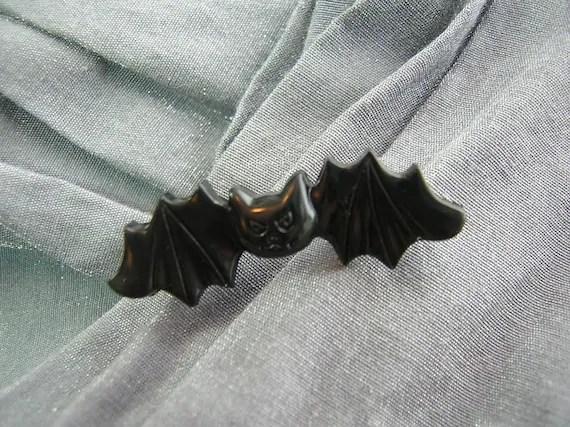 Cute Black Vampire Bat Pin - Handmade by Rewondered D225P-00005 - $5.95