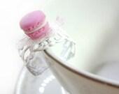 Soft Pink Miniature Food Macaron Ring - Glamour365