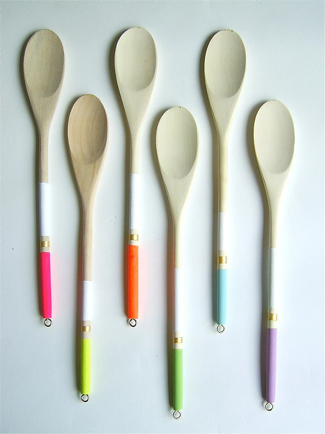 Modern Neon Hardwood Serving Spoons, Set of 6