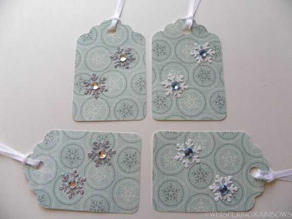 Christmas gift tags stripes and snowflakes  (4) rhinestones