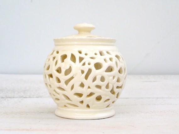 Vintage Ceramic Jam Jar, off white, Sugar Jar, Shabby chic, Beige Filigree, Tea party, French cottage, Christmas, housewarming, wedding gift