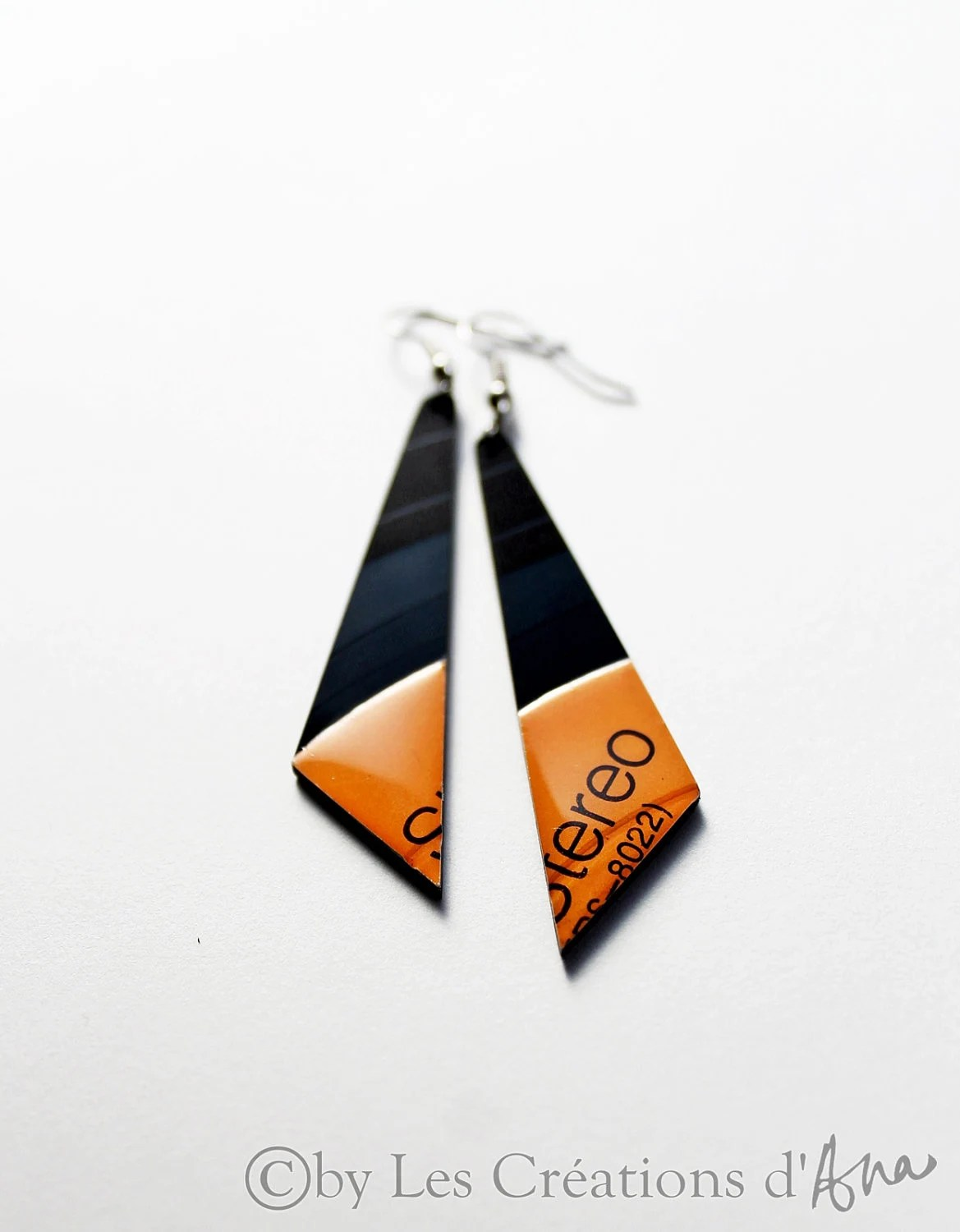 black and orange earrings,recycled vinyl record jewelry, triangle earrings, halloween jewelry, resin jewelry, colorful earrings, music - LesCreationsdAna