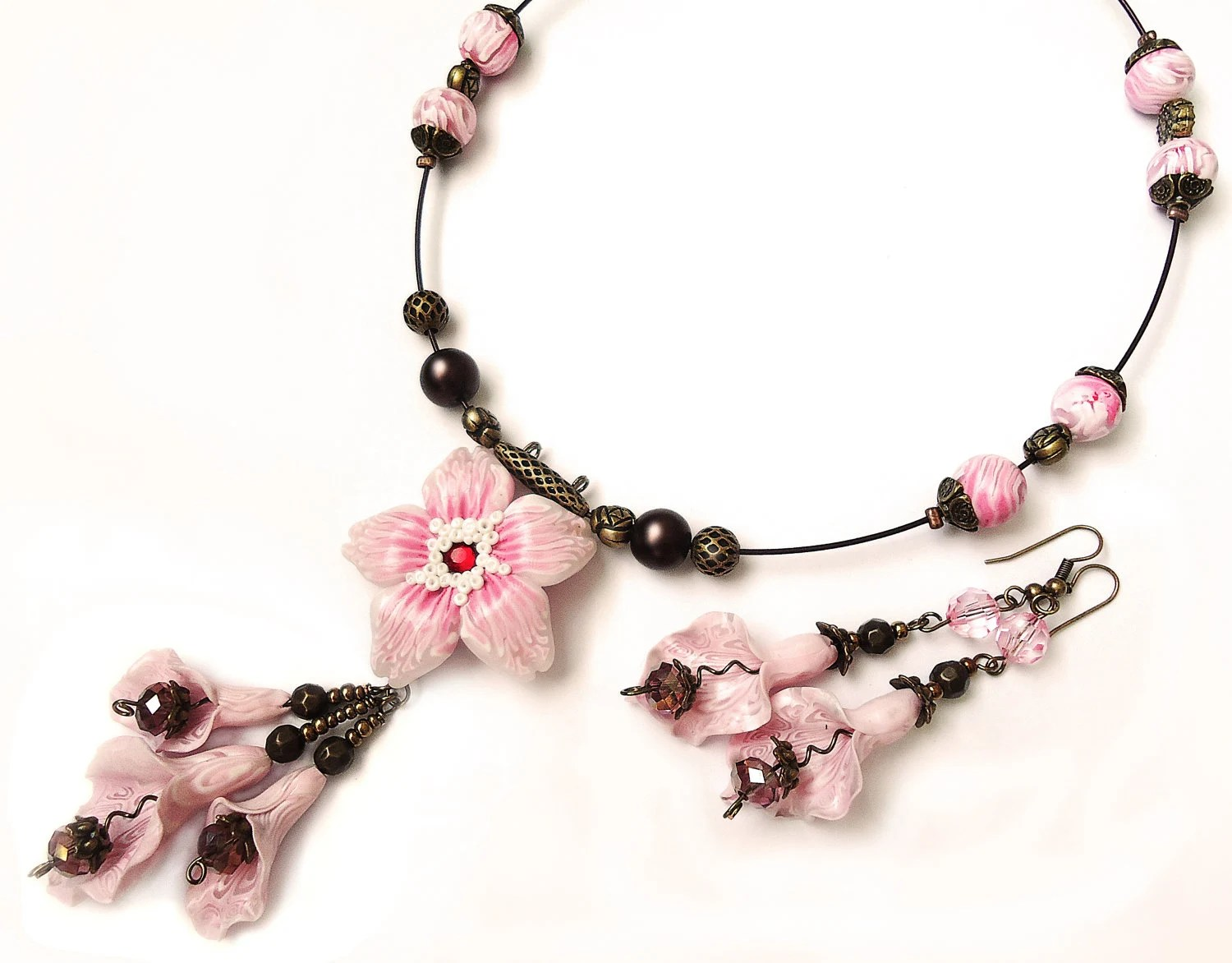 Lovely pink and brown  Polymer Clay Jewelry Set (necklace and earrings) - flowerdeco