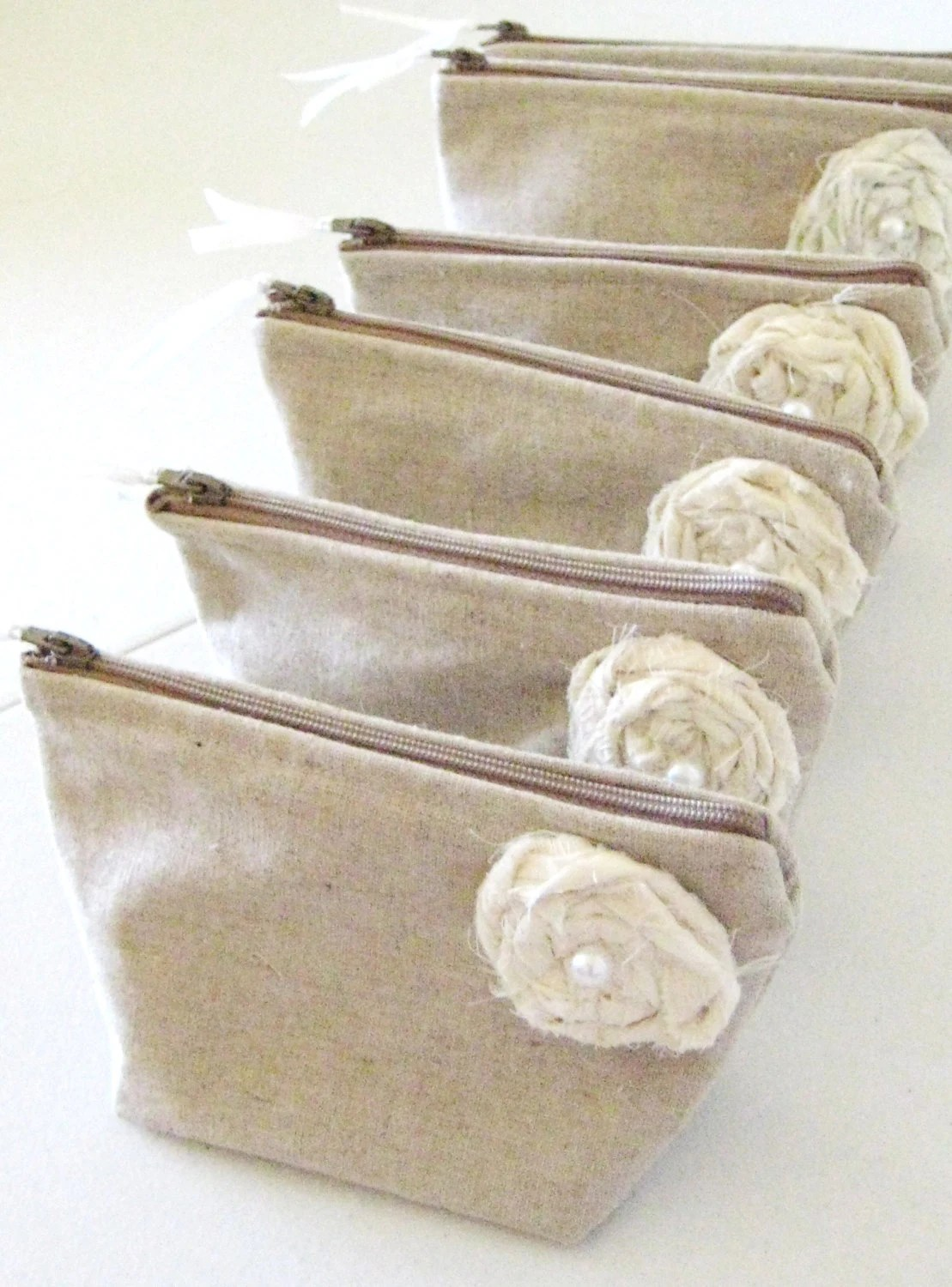 7th Bag is FREE- Fall Wedding Bridesmaid Clutch Purse, Linen, Bridesmaids Gift, Wedding - Set of 7