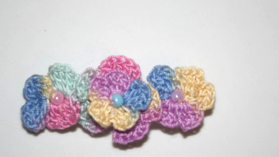 Crochet flower Hair barrette