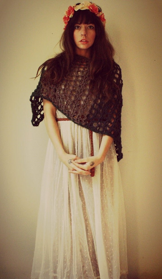 crochet lace shawl, loose knit shrug. forest green, clay, and taupe. one size. made to order
