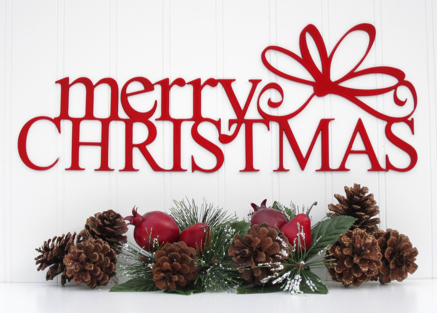 Red Merry Christmas Sign Metal Wall Art By RefinedInspirations