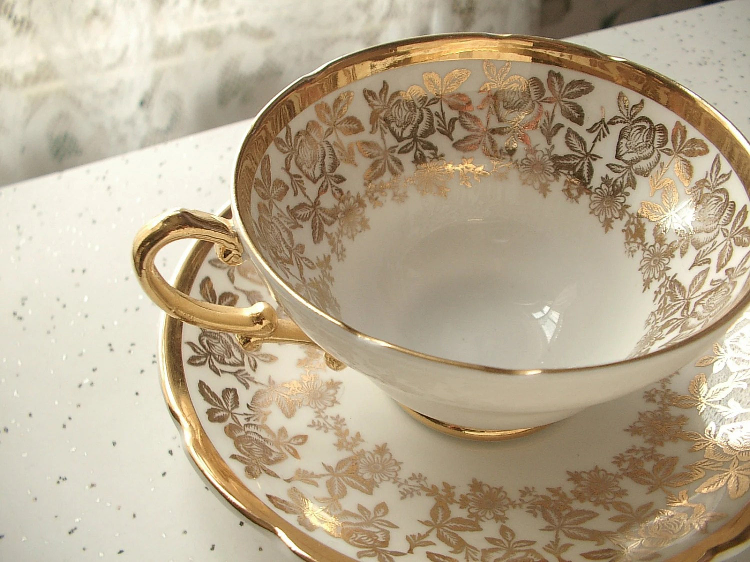 vintage English tea cup and saucer set, Stanley bone china tea set, gold roses and white wedding gift